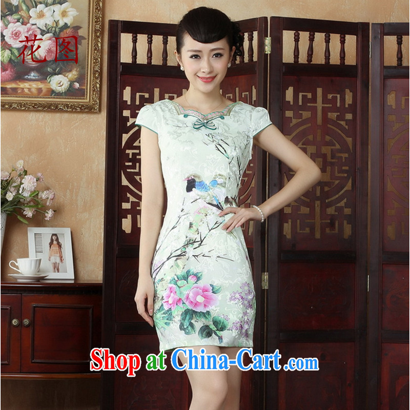 spend the summer dresses girl Chinese China wind improved cheongsam dress dresses daily short cheongsam dress dress 4Map Color M