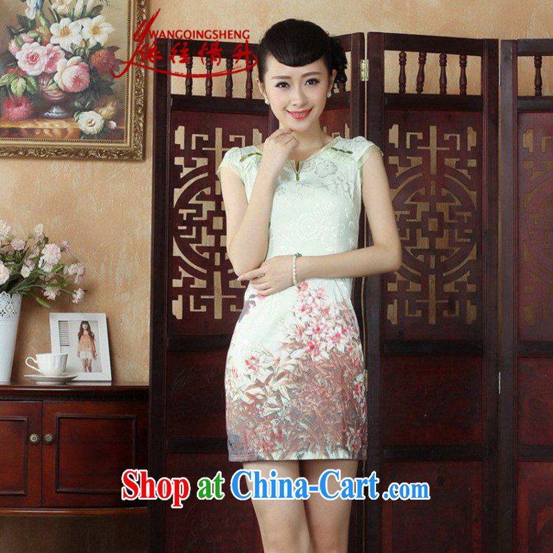 In accordance with the situation in summer 2015 new small V collar retro stamp duty cultivating cheongsam dress LGD/D 0240 #picture color 2 XL