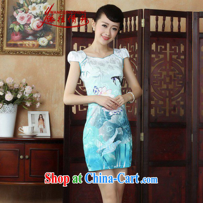 In accordance with the situation in summer 2015 New Round ends stamp duty cultivating cheongsam dress LGD/D 0239 #picture color 2 XL