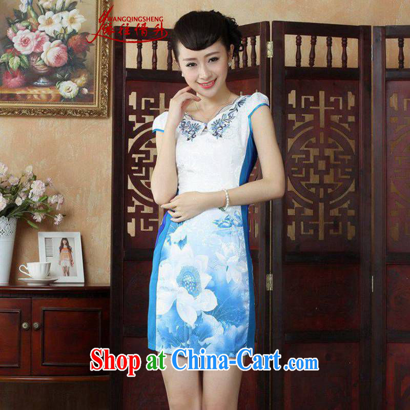 According to the situation in Korea summer edition New Round ends embroidered stitching color beauty cheongsam dress LGD_D 0234 _picture color 2 XL