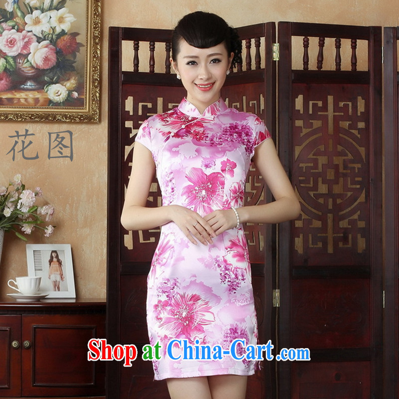 The payment takes the Chinese qipao summer Chinese qipao is a hard stamp female short cheongsam picture color XL