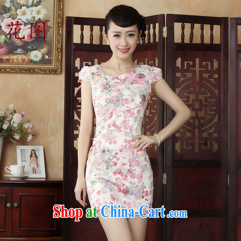 Take the dresses summer load short lace cheongsam dress daily short cheongsam dress skirt 2 pink S