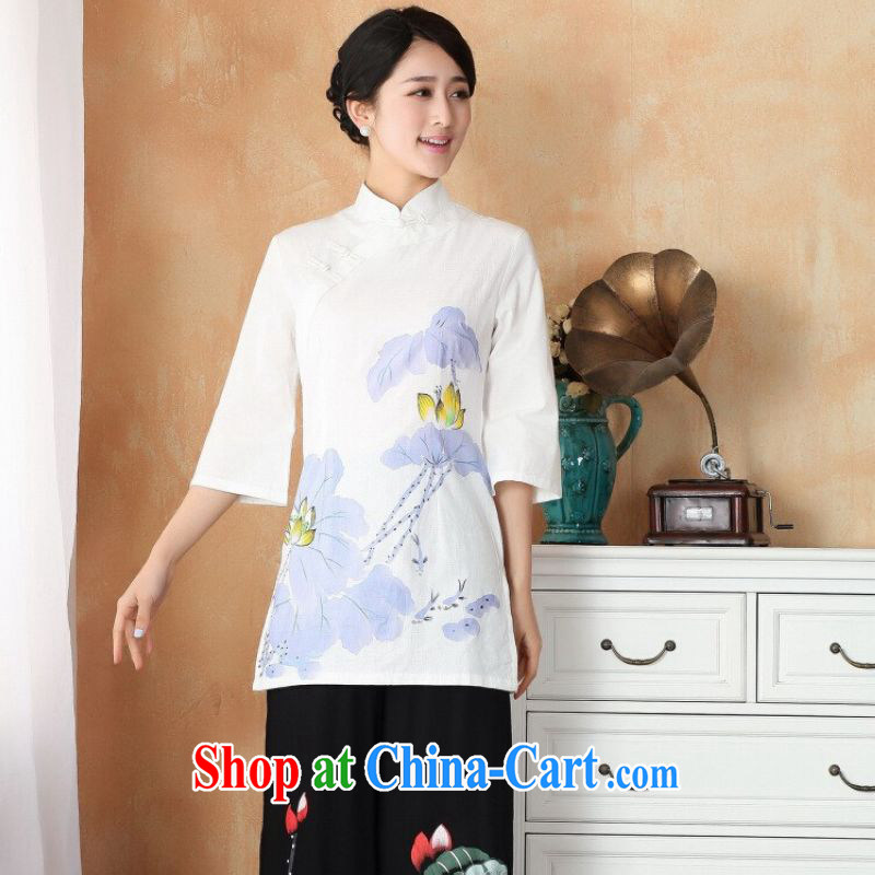 And Jing Ge female Tang Women's clothes summer T-shirt, for a tight hand-painted cotton the Chinese Han-female Enhancement - 1 white purple 2 XL