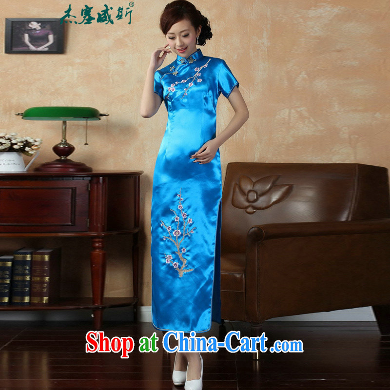 Jessup, new elegant improvements, for manually tie embroidered phillips-short-sleeved long cheongsam dress female J 3406 Lake blue XXXL