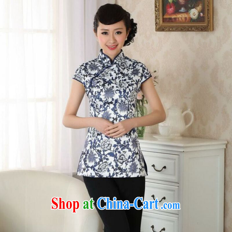And Jing Ge female Tang Women's clothes summer T-shirt Chinese Ethnic Wind blue and white porcelain Chinese Han-female improved Blue on white 2 XL