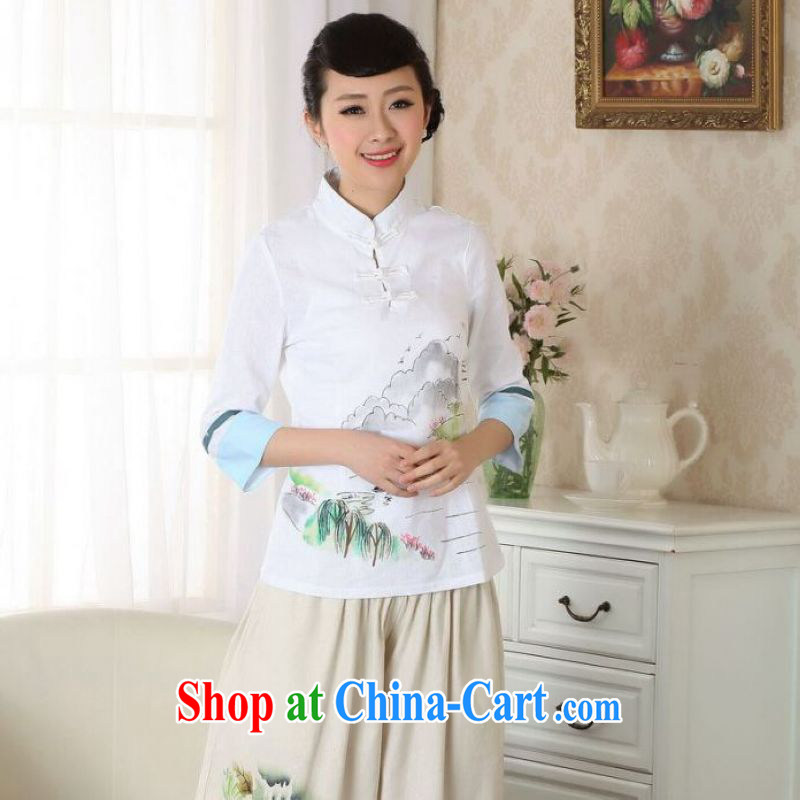 And Jing Ge female Tang Women's clothes summer T-shirt cotton Ma hand painted ethnic wind Chinese Han-female improved white 2XL