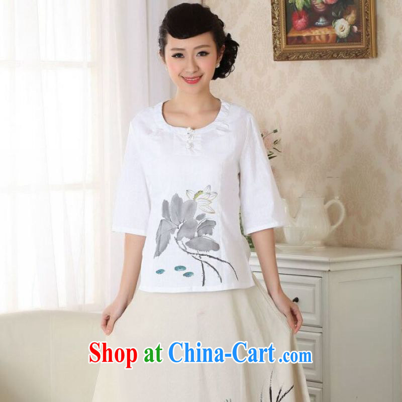 And Jing Ge female Tang Women's clothes summer T-shirt round neck cotton Ma ethnic wind Chinese Han-female improved white L