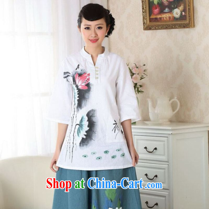 And Jing Ge female Tang Women's clothes summer clothes, for hand-painted cotton Ma ethnic wind Chinese Han-female improved white M