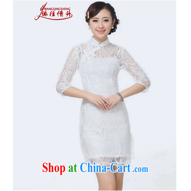 In accordance with the situation in summer 2015 trendy new products, new lace stitching in cultivating cuff cheongsam dress LGD/E #0019 white 2XL