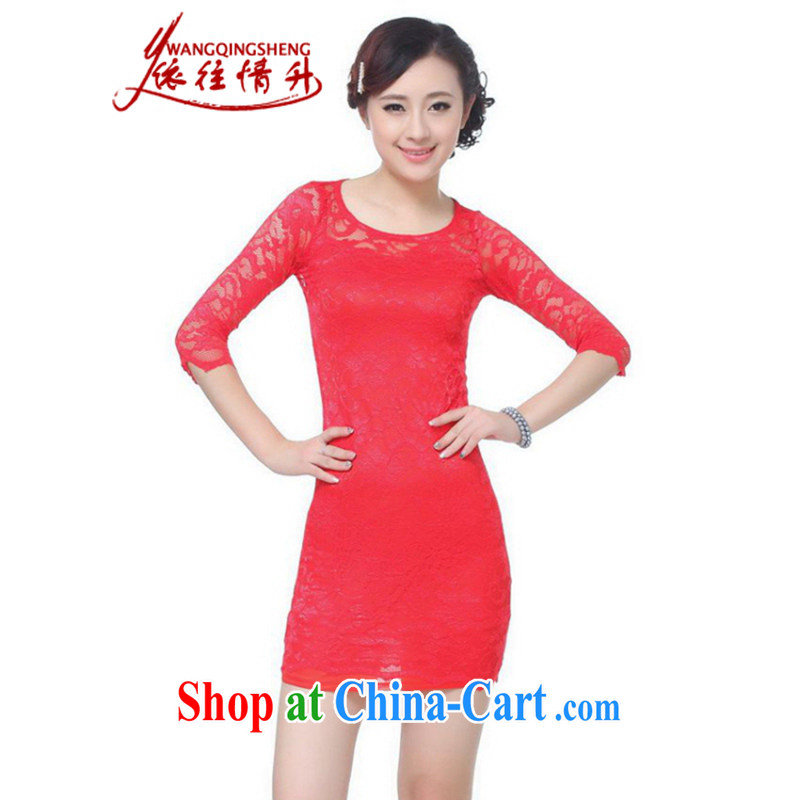 In accordance with the situation in summer 2015 trendy new products round Solid Color lace beauty cheongsam dress LGD/E 0017 #red 2 XL