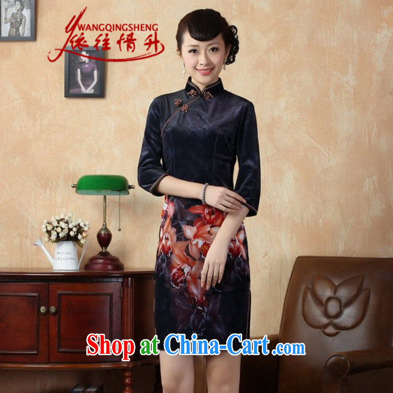 According to L stretch the wool painting stylish classic in short sleeves Chinese qipao LGD_TD 0003 _picture color 2 XL