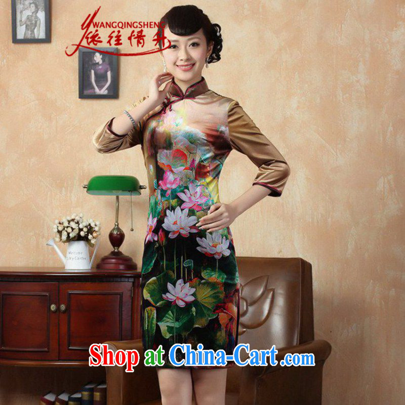 According to L stretch the wool painting stylish classic in short sleeves Chinese qipao LGD_TD 0009 _picture color 2 XL