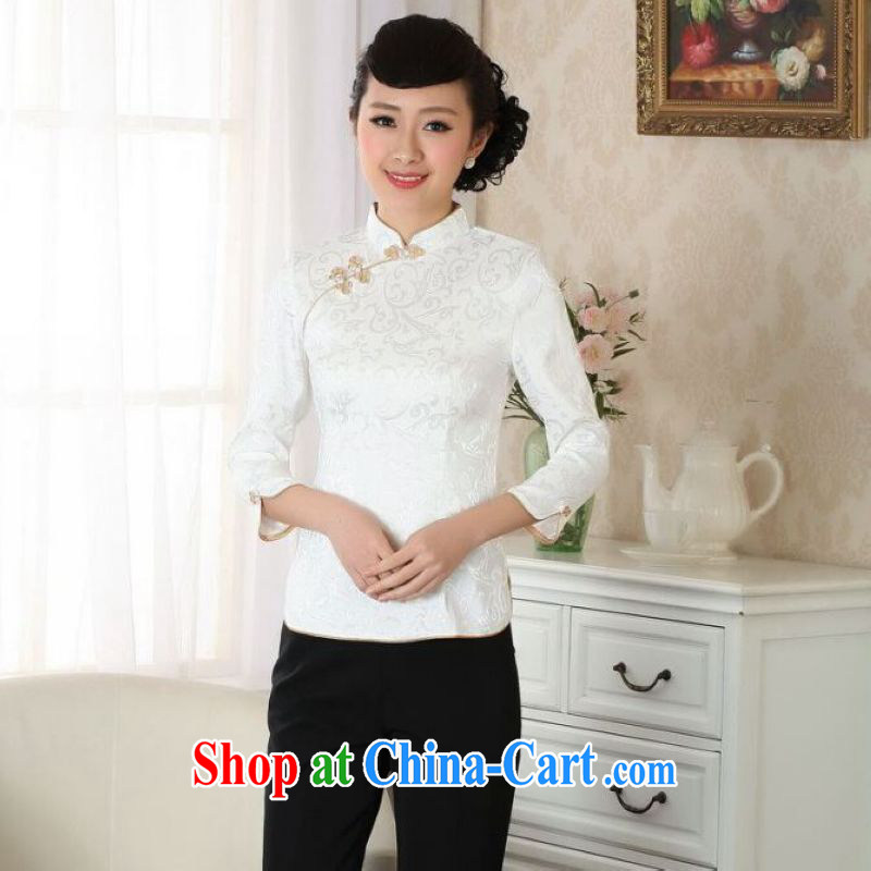 And Jing Ge female Tang Women's clothes summer T-shirt, collar ethnic wind Chinese Han-female improved A 0051 white 3XL