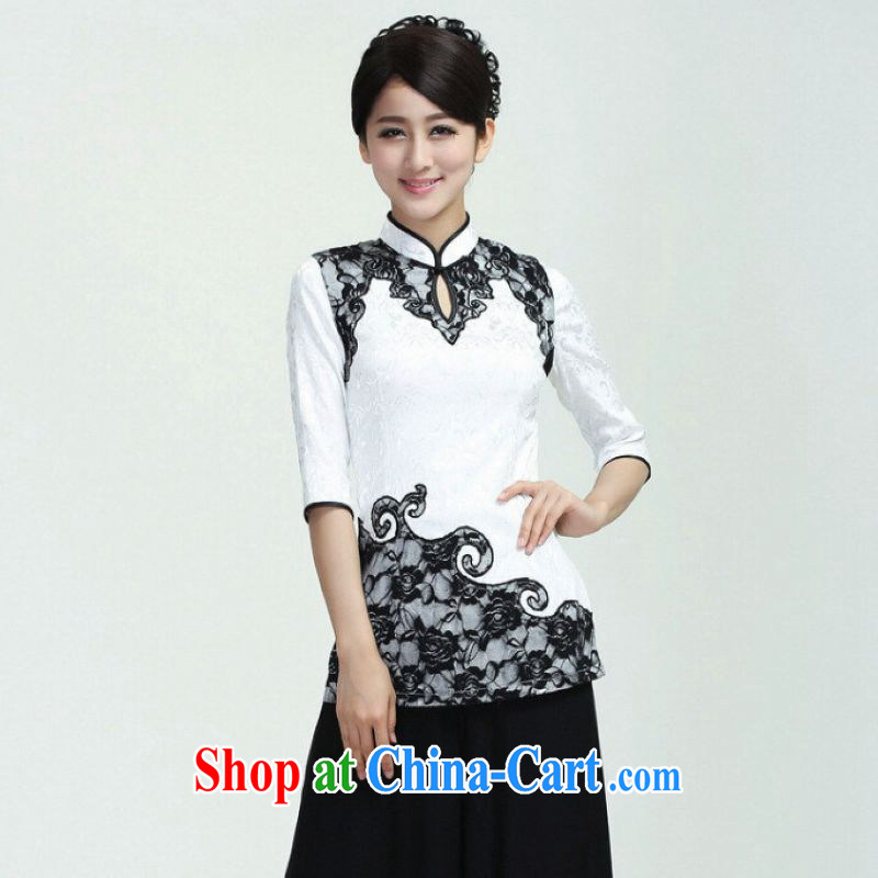 And Jing Ge female Tang Women's clothes summer T-shirt and collar lace stitching Chinese Han-female improved white 2XL