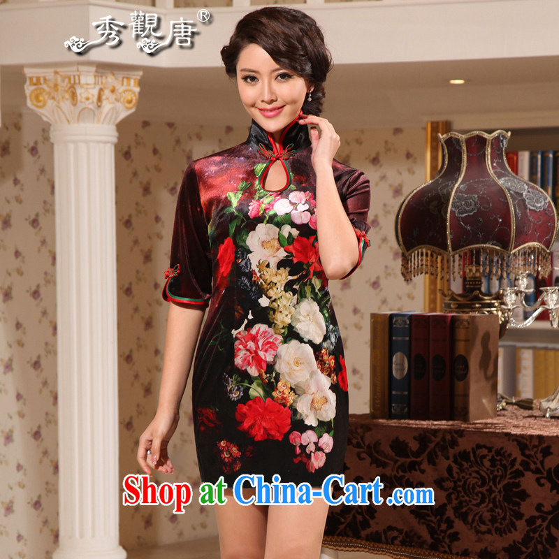The CYD HO Kwun Tong' Mei Liang 2015 spring cuff in gray velour cheongsam sexy retro short velvet cheongsam G suit 922,511 XXXL