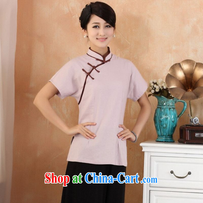 And Jing Ge female Tang Women's clothes summer wear T-shirt, for a tight Solid Color hand-painted Chinese Han-female Enhancement - 3 purple 3 XL