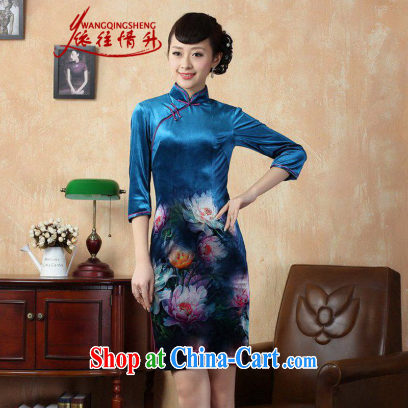According to L stretch the wool painting stylish classic in short sleeves Chinese qipao LGD_TD 0008 _picture color 2 XL