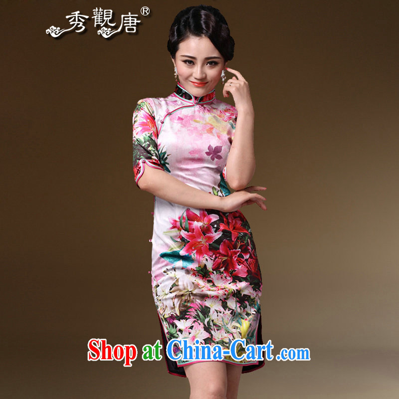 The CYD HO Kwun Tong' flower Chow 2015 upscale velvet cuff in cheongsam spring retro mom with cheongsam G 97,126 fancy M