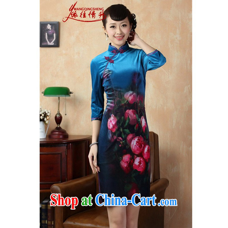 According to L stretch the wool painting stylish classic in short sleeves cheongsam Chinese LGD/TD 0004 #picture color 2 XL