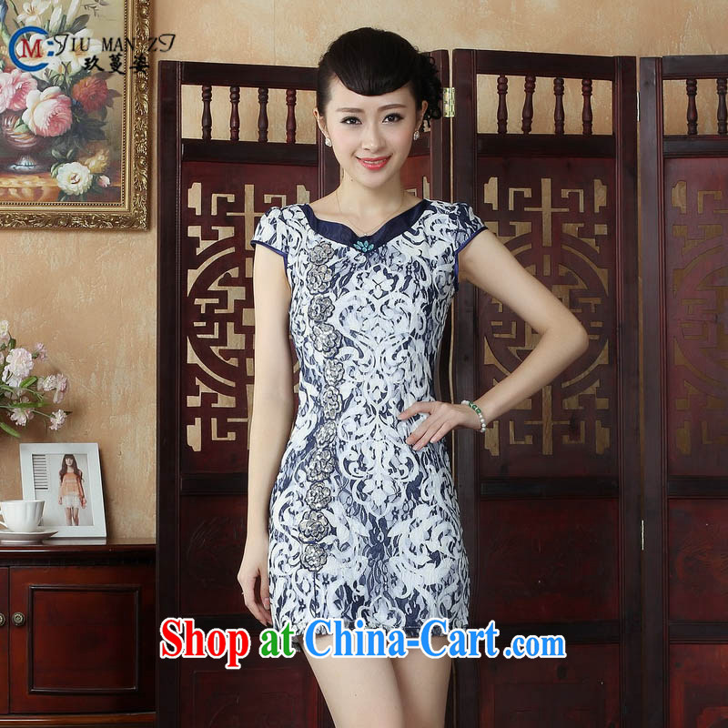 Ko Yo Mephidross Colorful spring and summer retro blue and white porcelain embossed dresses lace V collar short-sleeved beauty package and qipao D 0233 dark blue 175_2 XL