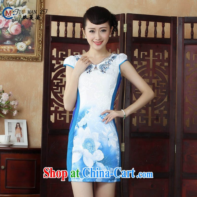 Ko Yo vines into colorful Chinese style with stylish Lotus cheongsam dress retro summer Chinese Lotus dress dress D 0234 white 175_2 XL