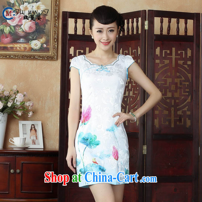 Ko Yo Mephidross colorful traditional costumes summer antique Chinese Chinese cheongsam dress summer improved stylish dresses dress D 0235 white 175_2 XL