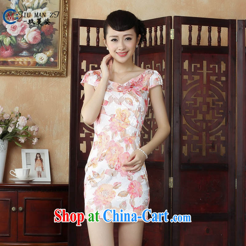 Ko Yo Mephidross Colorful spring and summer stamp Ethnic Wind short-sleeved dresses and fresh light cotton round neck package and qipao D 0236 white 175_2 XL