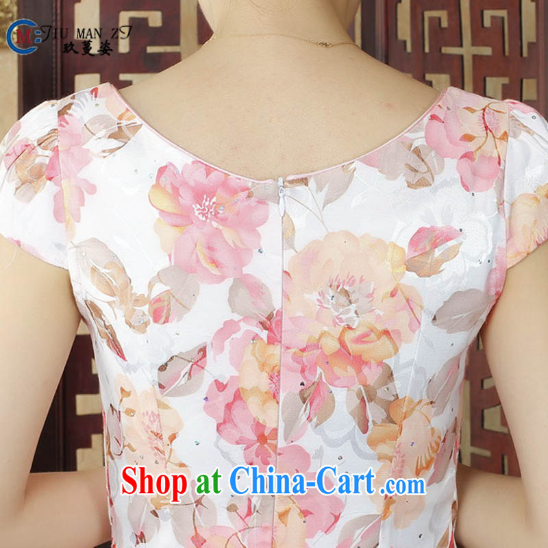 Ko Yo vines into colorful spring and summer stamp Ethnic Wind short-sleeved dresses and fresh light cotton round-collar package and qipao D 0236 white 175/2 XL, capital city sprawl, shopping on the Internet