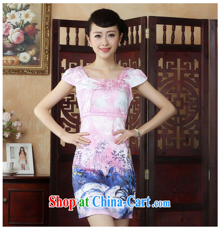 Ko Yo vines into colorful factory outlets (Spring/Summer stamp duty cotton round neck improved short-sleeve edge no's graphics waist cheongsam dress D 0237 pink 175/2 XL pictures, price, brand platters! Elections are good character, the national distribution, so why buy now enjoy more preferential! Health
