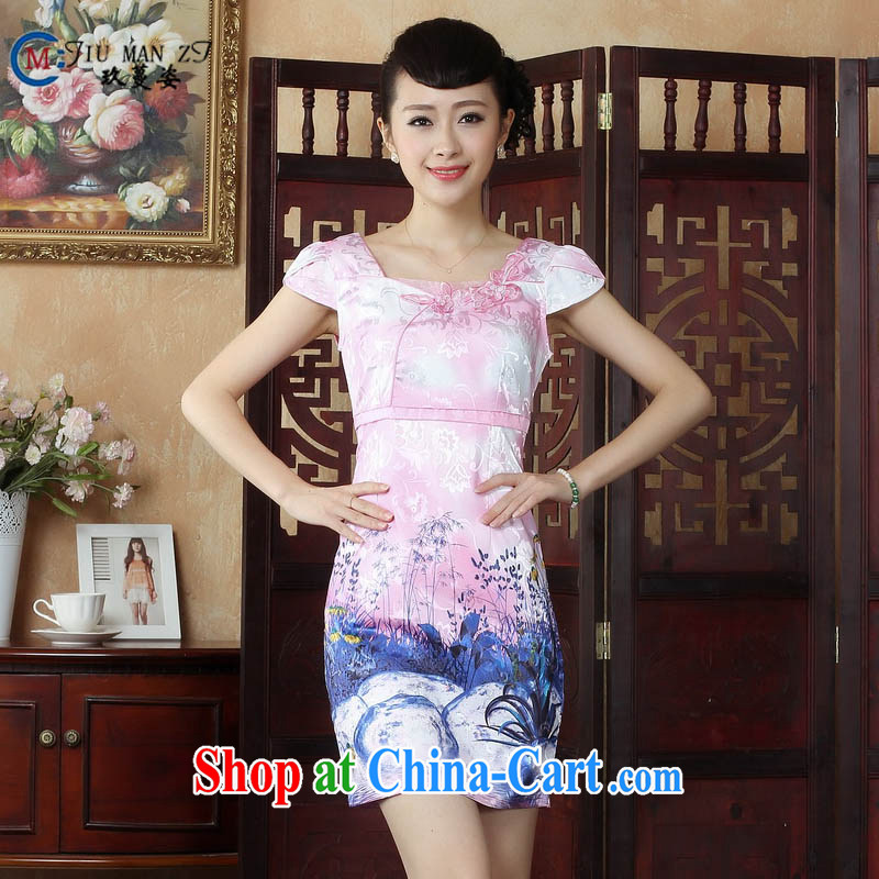 Ko Yo Mephidross colorful factory outlets (Spring/Summer stamp duty cotton round neck improved short-sleeve edge no's graphics waist cheongsam dress D 0237 pink 175/2 XL
