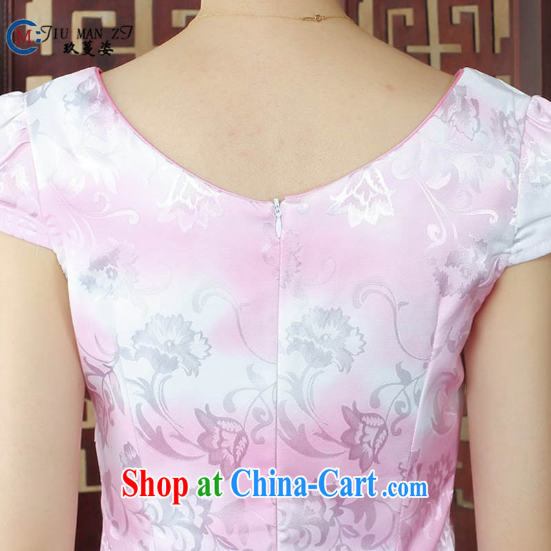 Ko Yo vines into colorful factory direct spring and summer stamp duty cotton round neck improved short-sleeve edge no's graphics waist cheongsam dress D 0237 pink 175/2 XL, capital city sprawl, shopping on the Internet