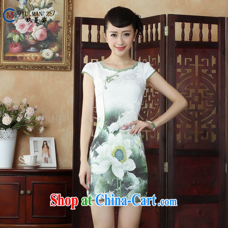 Ko Yo Mephidross colorful factory direct spring and summer retro improved cheongsam dress new cotton round-collar short-sleeve retro stamp cheongsam D 0238 white 175_2 XL