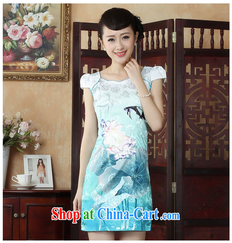 Ko Yo vines into colorful factory outlets (Spring/Summer stamp duty cotton round neck improved short-sleeve edge no's graphics waist cheongsam dress D 0239 white 170/XL pictures, price, brand platters! Elections are good character, the national distribution, so why buy now enjoy more preferential! Health