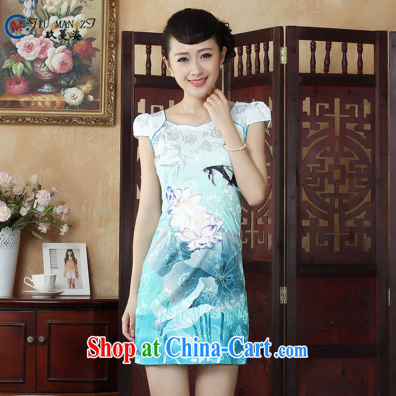 Ko Yo vines into colorful factory outlets (Spring/Summer stamp duty cotton round neck improved short-sleeve edge no's graphics waist cheongsam dress D 0239 white 170/XL