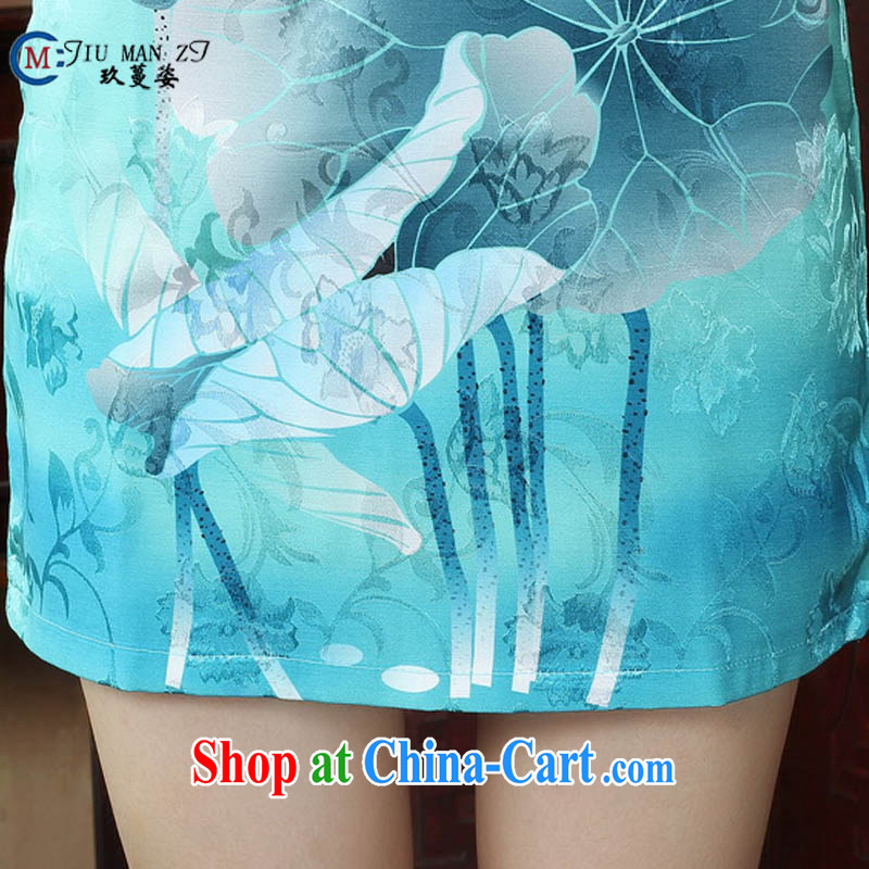 Ko Yo vines into colorful factory outlets (Spring/Summer stamp duty cotton round neck improved short-sleeve edge no's graphics waist cheongsam dress D 0239 white 170/XL, capital city sprawl, shopping on the Internet