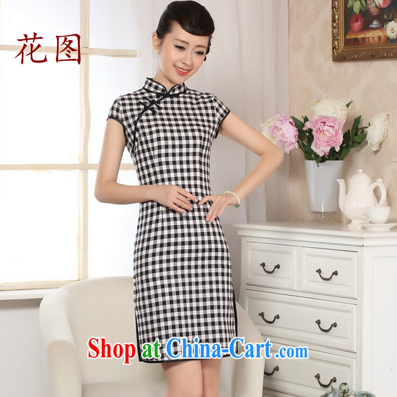 Take the cotton the retro checked short-sleeved qipao improved daily republic of linen girls summer dresses skirts - white A Haig L