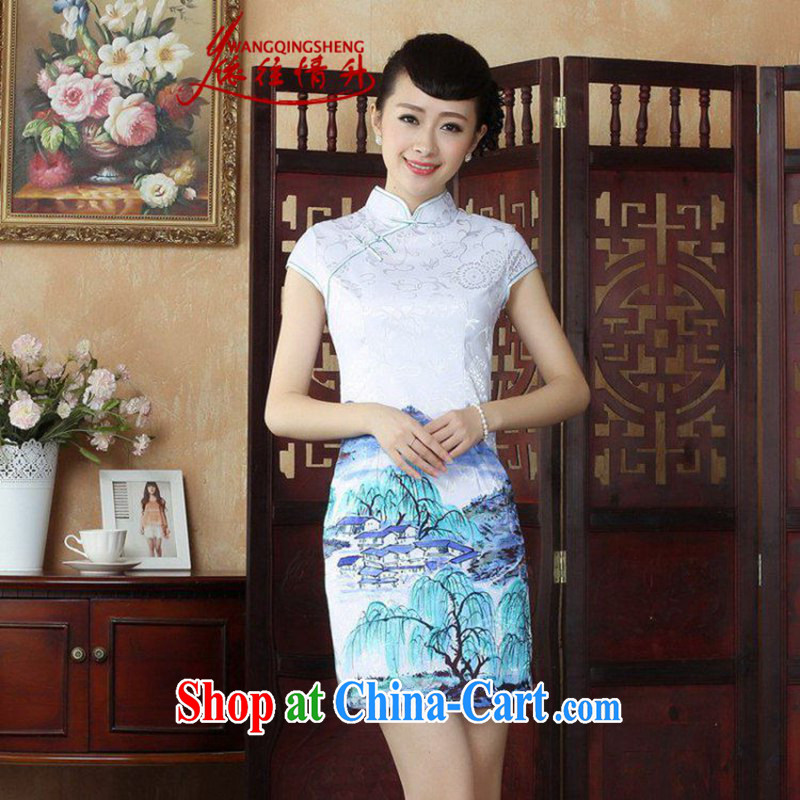 In accordance with the situation in summer 2015, new, for a tight Ethnic Wind classical landscapes stamp duty cultivating Chinese qipao LGD/D 0251 #picture color M