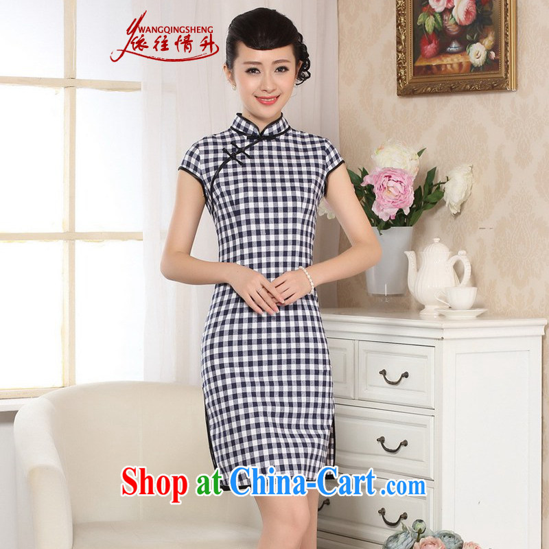 In accordance with the situation in summer 2015 trendy new products, for a tight grid cultivating Chinese qipao LGD/D 0247 #Blue on white, 2XL