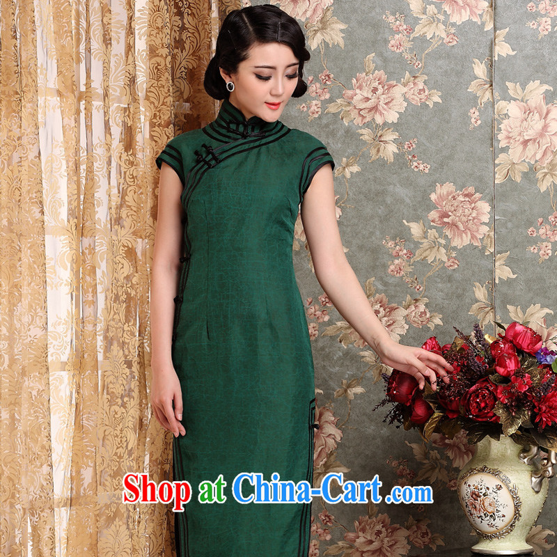 Yin Yue NARS summer 2014 New Long cheongsam fragrant cloud yarn retro high on the truck for the short-sleeved elegant beauty dresses skirts dark XXL