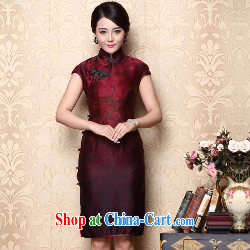 Yin Yue seal new light on the true population Hong Kong cloud yarn high-end goods is a tight retro beauty high on the truck cheongsam dress red XXL