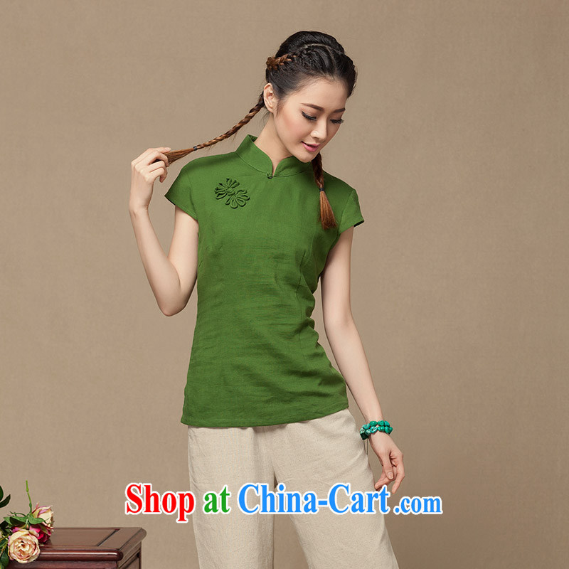 Summer 2014 new girls cotton the cheongsam shirt Chinese Han-chinese T shirt linen arts ethnic wind green XL