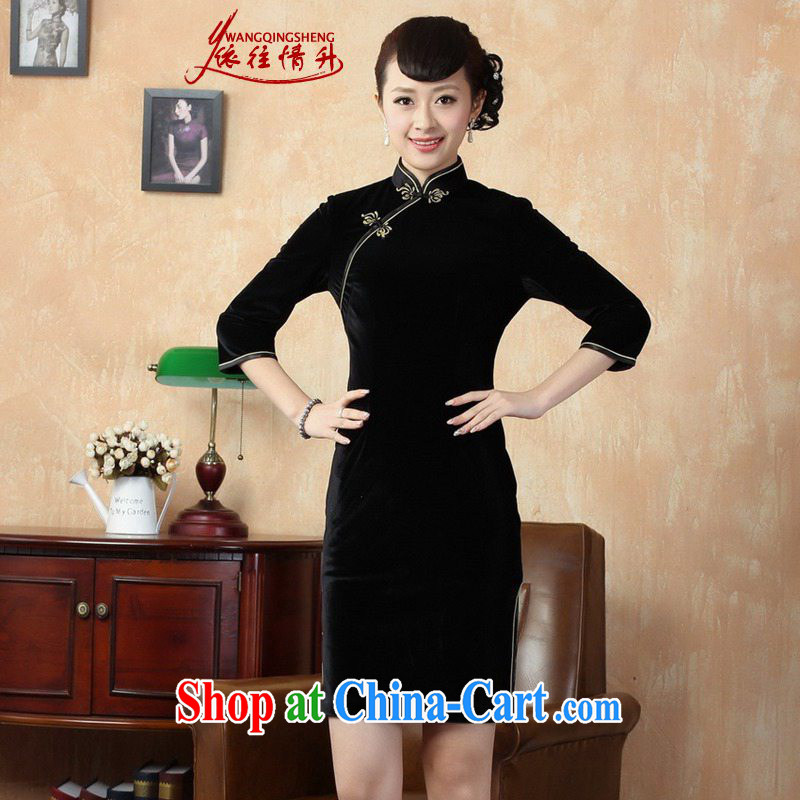 In accordance with the situation in summer new Pure color-7 cuff velvet Sau San Tong with improved cheongsam LGD_TD 0005 _black S