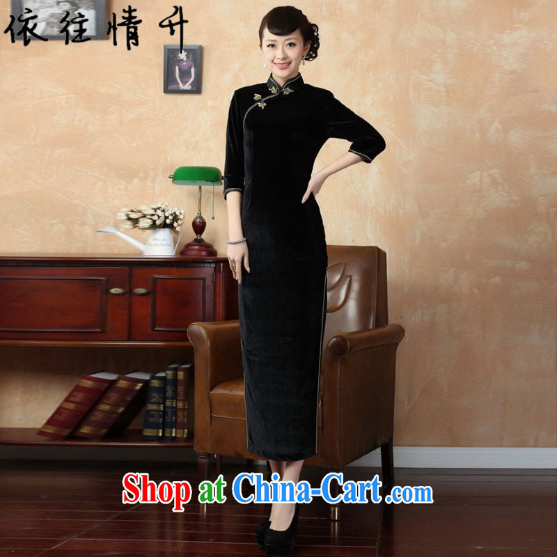 In accordance with the situation in autumn new Pure color-7 cuff, cultivating wool Chinese qipao LGD/T 0001# black 3 XL