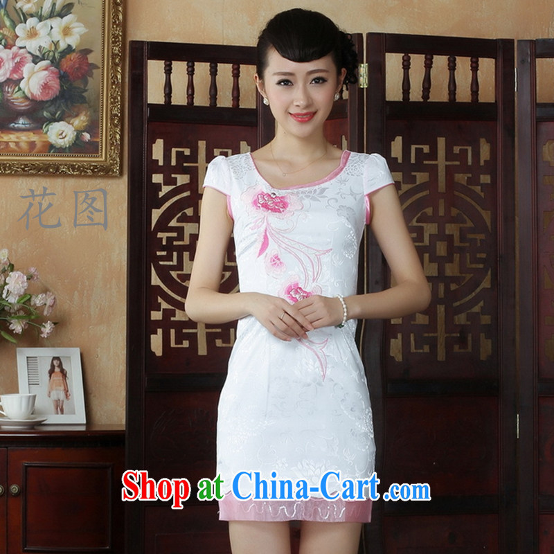 Take the new Lady Jane, Jacob embroidery cheongsam improved cheongsam dress summer exclusive fashion beauty dresses D 0232 white S
