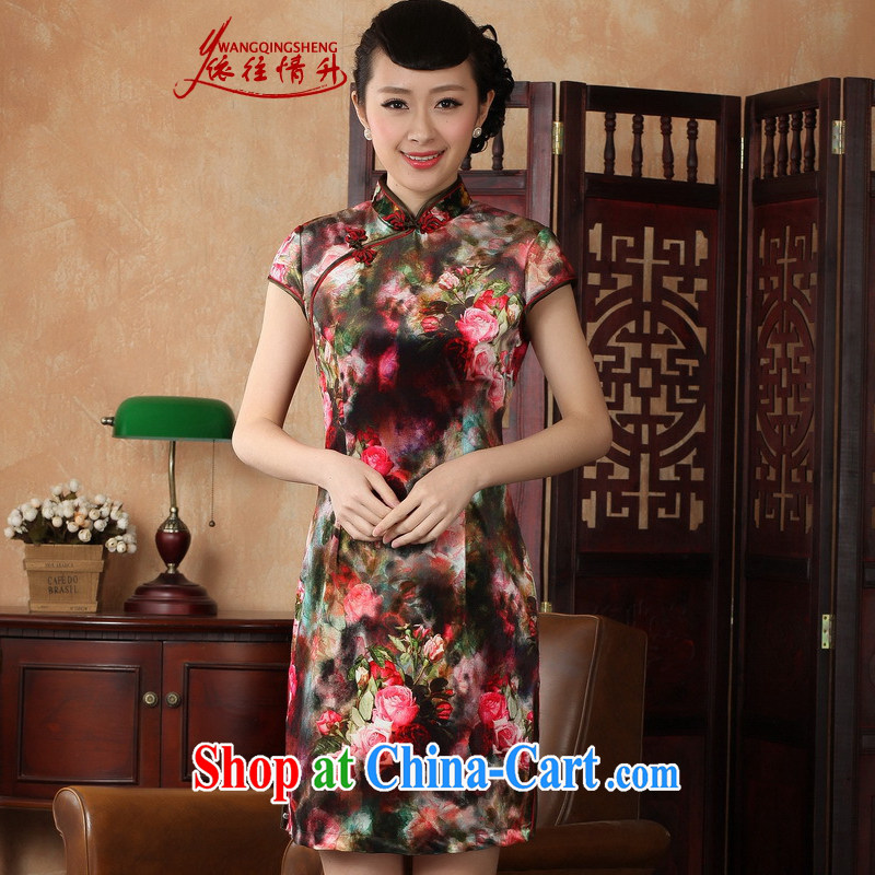 According to the situation in summer 2015 new stylish classic stretch gold velour poster short-sleeved cultivating Chinese qipao LGD_TD 0013 _picture color 2 XL