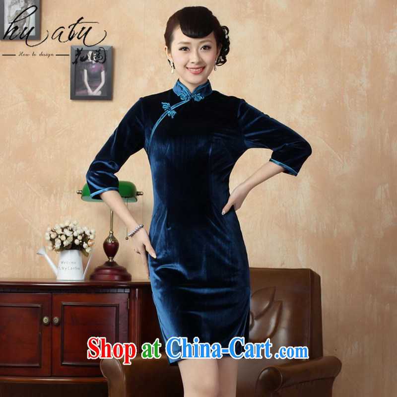 Take the Chinese cheongsam dress new Chinese improved, for solid color-stretch-velvet cheongsam 7 Cuff - D The Tsing 3 XL