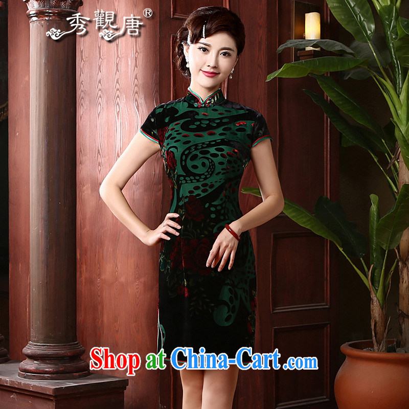 The CYD HO Kwun Tong' Peony red Silk Cheongsam retro improved 2014 summer new noble sauna silk QD 4722 green XL
