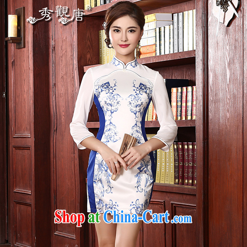 The CYD HO Kwun Tong' Blue Shadow 2015 spring new retro dresses, stylish long-sleeved blue and white porcelain cheongsam QC 4713 white L