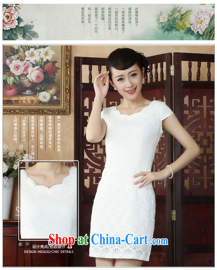 Ko Yo Mephidross beauty factory direct spring and summer retro stylish pure white fresh dresses lace round-collar short-sleeve beauty package and qipao D 0241 white 175/2 XL pictures, price, brand platters! Elections are good character, the national distribution, so why buy now enjoy more preferential! Health
