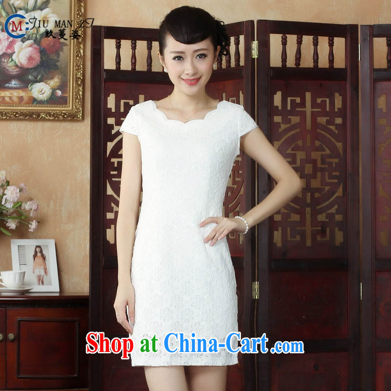 Ko Yo Mephidross beauty factory direct spring and summer retro stylish pure white fresh dresses lace round-collar short-sleeve beauty package and qipao D 0241 white 175_2 XL